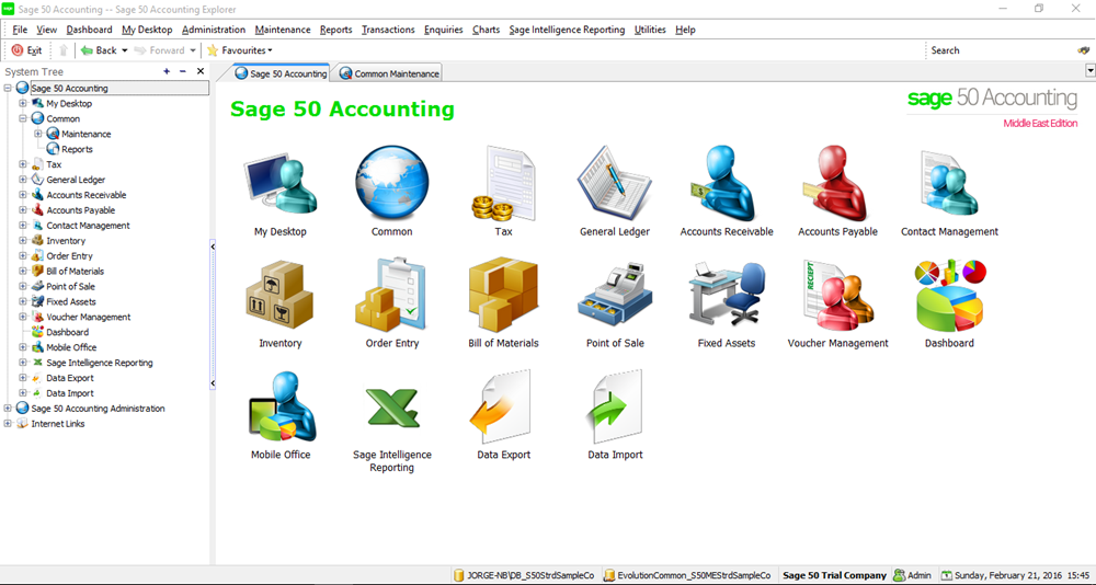 Sage 50 Main Screen H A Consultancies Bahrain